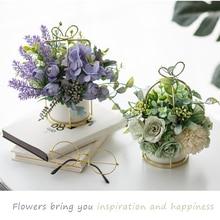 Table centerpieces artificial flowers with vase home decoration flower Pot set European Style rose Bouquet wedding Potted flowers