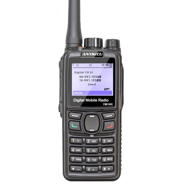 ANYSECU DMR Walkie Talkie DM-960 DM960 TDMA Ham Radio DM960 UHF 400-480 MHZ  Dual Slot Times Walkie Talkie