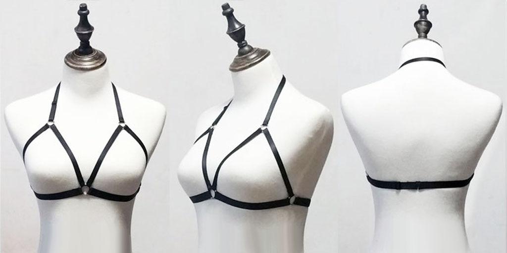 Sexy Womens Handmade Cage Bra Crop Top Body Harness Bra Elastic Underwear Black
