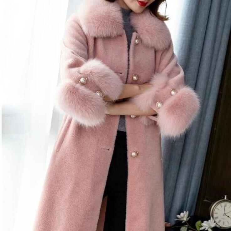 Женское длинное пальто со съемным меховым воротником, осенне-зимнее пальто и куртка из смесовой шерсти
