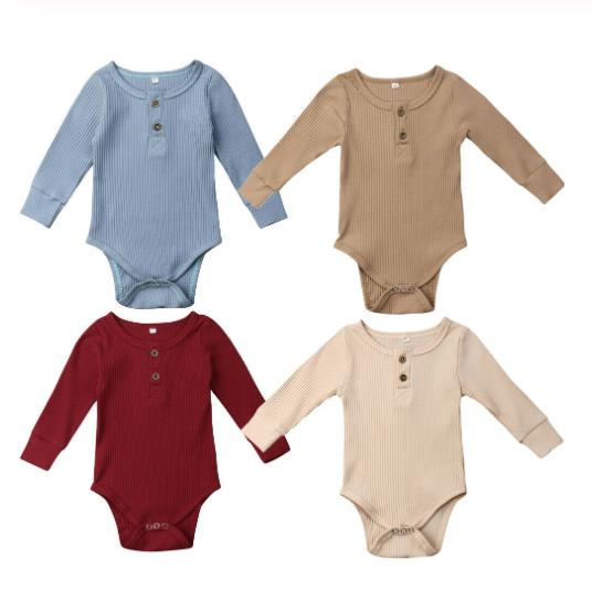 New Newborn Infant Baby Girl Boy Ribbed Romper Ruffle One-Pieces Solid Jumpsuit Long Sleeve Outfits Spring Sunsuit