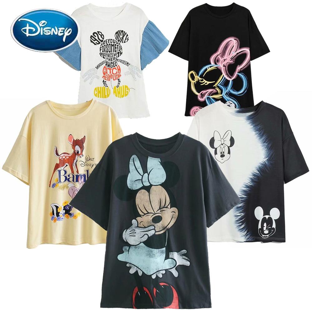 Disney T-Shirt Mickey Mouse Daisy Duck Winnie the Pooh Bear Eeyore Bambi Princess Fairies Cartoon Print Women Cotton Tee Tops