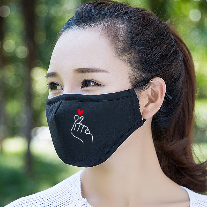 Cute Love Heart Cotton Face Mask Breathable Cycling Running Facemask Anti Dust Windproof Air Purifying Face Mask +2 Filter
