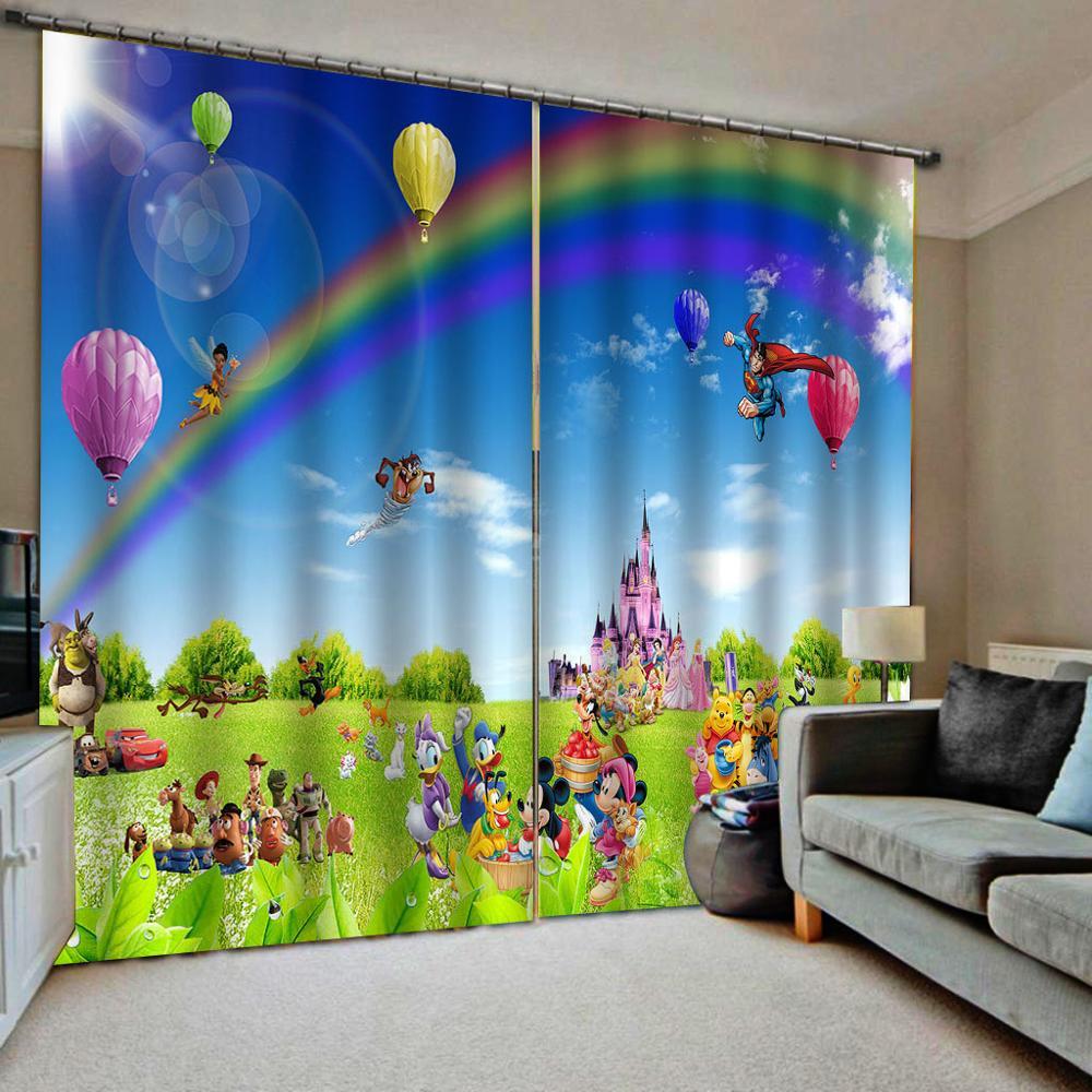 Cartoon curtains rainbow curtain kids curtain 3D Curtain Luxury Blackout Window Curtain Living Room Decoration curtains