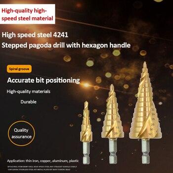 4-12mm 4-20mm 4-32mm Titanium Coated Pagoda Shape Step Drill Bit HSS Hex Shank Hole Drill Cone Drill Bit Step Drill