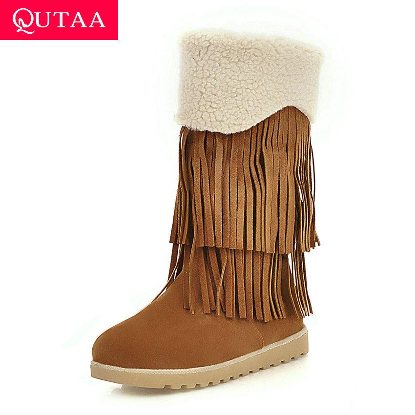 QUTAA 2020 Winter Flock Fashion Tassel Warm Fur Women Shoes Round Toe Casual Wedge Low Heel Slip on Mid Calf Boots big Size34-42