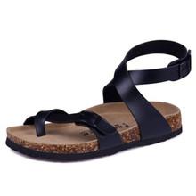 Moda korkowe sandały 2020 nowych mężczyzna buty na lato na co dzień plaża Gladiator nie-klamra pasek Sandalias Plus rozmiar 35-45 czarny czerwony tanie tanio RUBBER Pasek klamra Niska (1 cm-3 cm) Pasuje prawda na wymiar weź swój normalny rozmiar men cork beach sandals Stałe
