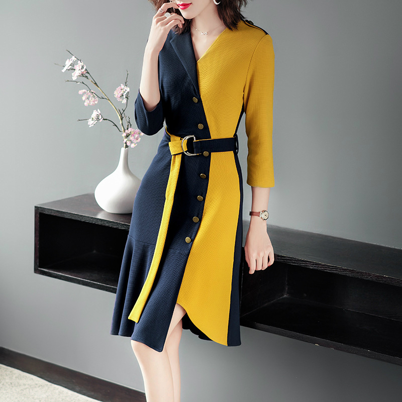 Modis Contrast Runway Dress 2019 Women High Quality Brand Designer Luxury Dress Women Corset Midi Autumn Winter Dress Plus Size