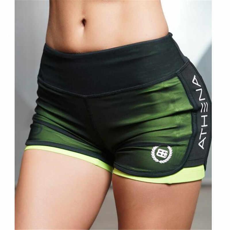 Sexy 2 In 1 Fitness Yoga Shorts Für Frauen Kompression Mesh Overlay Turnhallen Slim Fit Laufende Sport Kurz Trocknen Schnell cardio Training