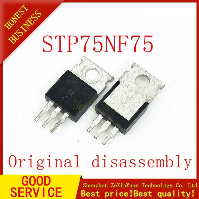 10 個中古オリジナルSTP75NF75 STP75N75 P75NF75 75NF75 75N75-mosfet N-CH 75v 80A 300 ワットに 220-3(TO-220AB)
