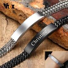 Vnox konfigurowalne bransoletki ID dla mężczyzn, czarna bransoleta z łańcuszkiem ze stali nierdzewnej, Casual idealny spersonalizowany tata mąż prezent