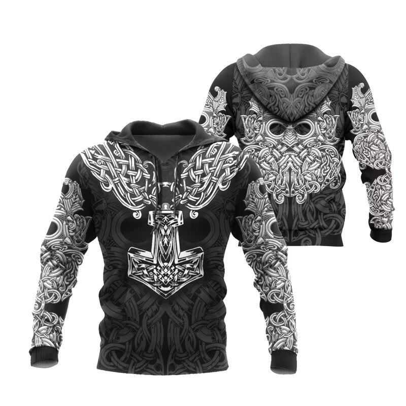 PLstar Cosmos crazy pattern warrior Viking Tattoo 3D Printed Men hoodies Harajuku Hooded Sweatshirt Autumn Fashion hoodie top-19