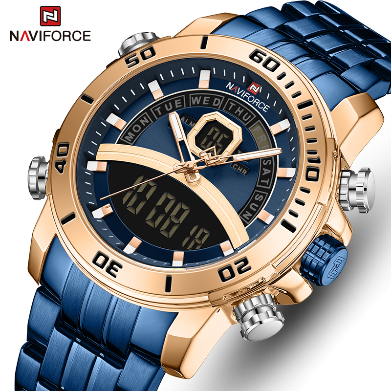NAVIFORCE Men Watch Top Luxury Brand Blue Big Sport Watches Mens Chronograph Quartz Wristwatch Stainless Steel Male Clock Reloj