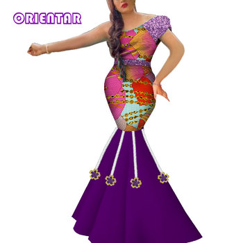 2019 New African Dresses for Women In African Clothing with Appliques Bazin Riche Lady African Mermaid Evening Dresses WY5089
