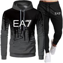 2021 men's sportswear suit autumn and winter 2-piece running hooded brand sports jogger sweatshirt suit men