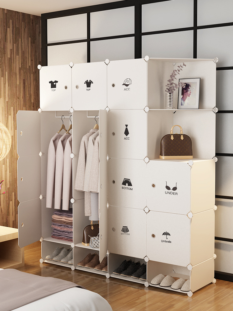 Simple Wardrobe Assembly Plastic Fabric Single Person Household Cabinet Bedroom Renting Imitation Wood Storage Cabinets Steel Fr