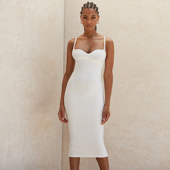 Ocstrade  Summer White Sweetheart Neckline Bandage Dress 2020 New Arrival Women Midi Bandage Dress Bodycon Sexy Club Party Dress ocstrade suede strapless bandage dress 2020 new arrival summer women sexy black bandage dress bodycon midi club party dresses