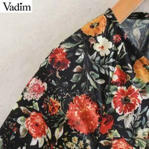Image 3 - Vadim women vintage floral pattern print midi dress V neck long sleeve female fashion casual straight dresses vestidos QD106