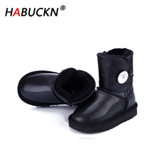 HABUCKN 2020 new Waterproof Genuine Leather Fur Winter Boots Warm children Boots Classic Snow Boots Women Shoes Lady Ankle Shoes 100% natural fur women boots winter warm shoes genuine sheepskin snow boots warm wool women ankle boots