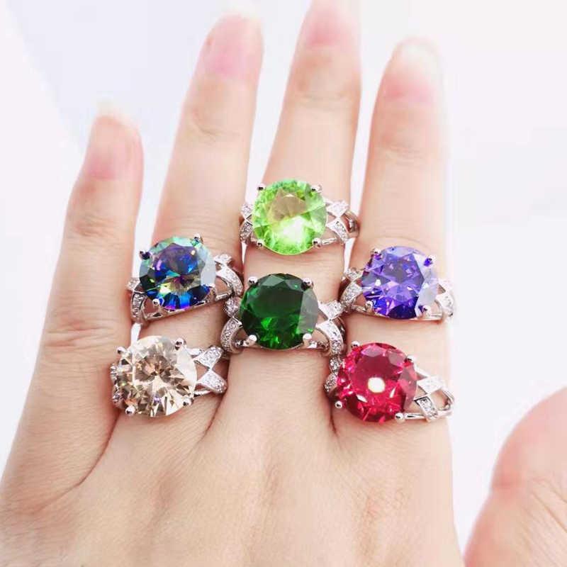 Lingmei estilo clássico cocktail na moda noivado zircão jóias anéis de casamento prata moda 925 anel tamanho 6-13 presentes de natal