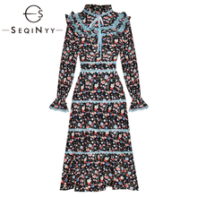 SEQINYY High Quality Dress 2020 Spring New Fashion Design Women Cascading Ruffle Lace Lantern Sleeve Floral Print Knee