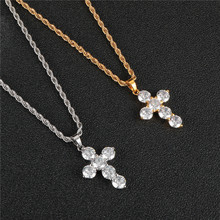Stainless Steel Inlaid Rhinestone Zircon Cross Necklace Hip Hop Religious Rope Chain Jewelry Women Men