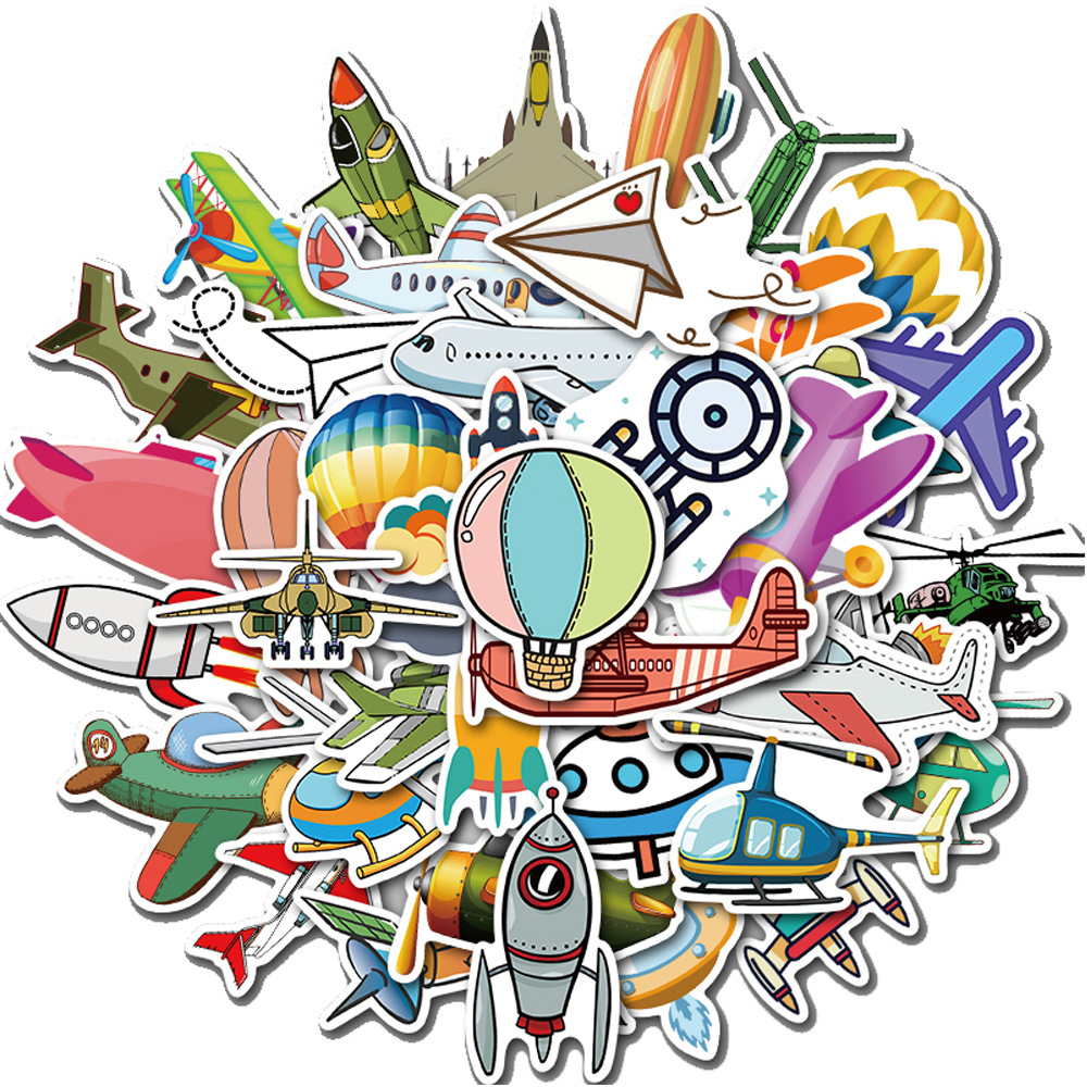 40pcs Cartoon Aircraft <font><b>Stickers</b></font> Hot Air Balloon Airplane Rockets <font><b>UFO</b></font> PVC Decals <font><b>Sticker</b></font> to Car Laptop Skateboard Travel Suitcase image
