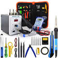700W 858D Soldeerstation LED Digital Soldeerbout desoldeerstation BGA Rework Soldeer Station Heteluchtpistool + Elektrische iron set