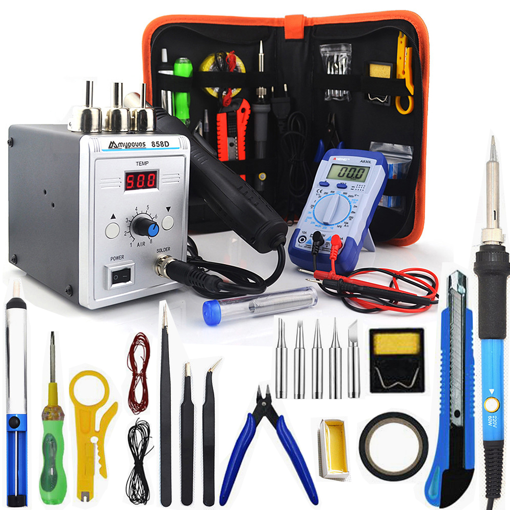 700W 858D Soldering Station LED Digital Solder Iron Desoldering Station BGA Rework Solder Station Hot Air Gun+ Electric Iron Set