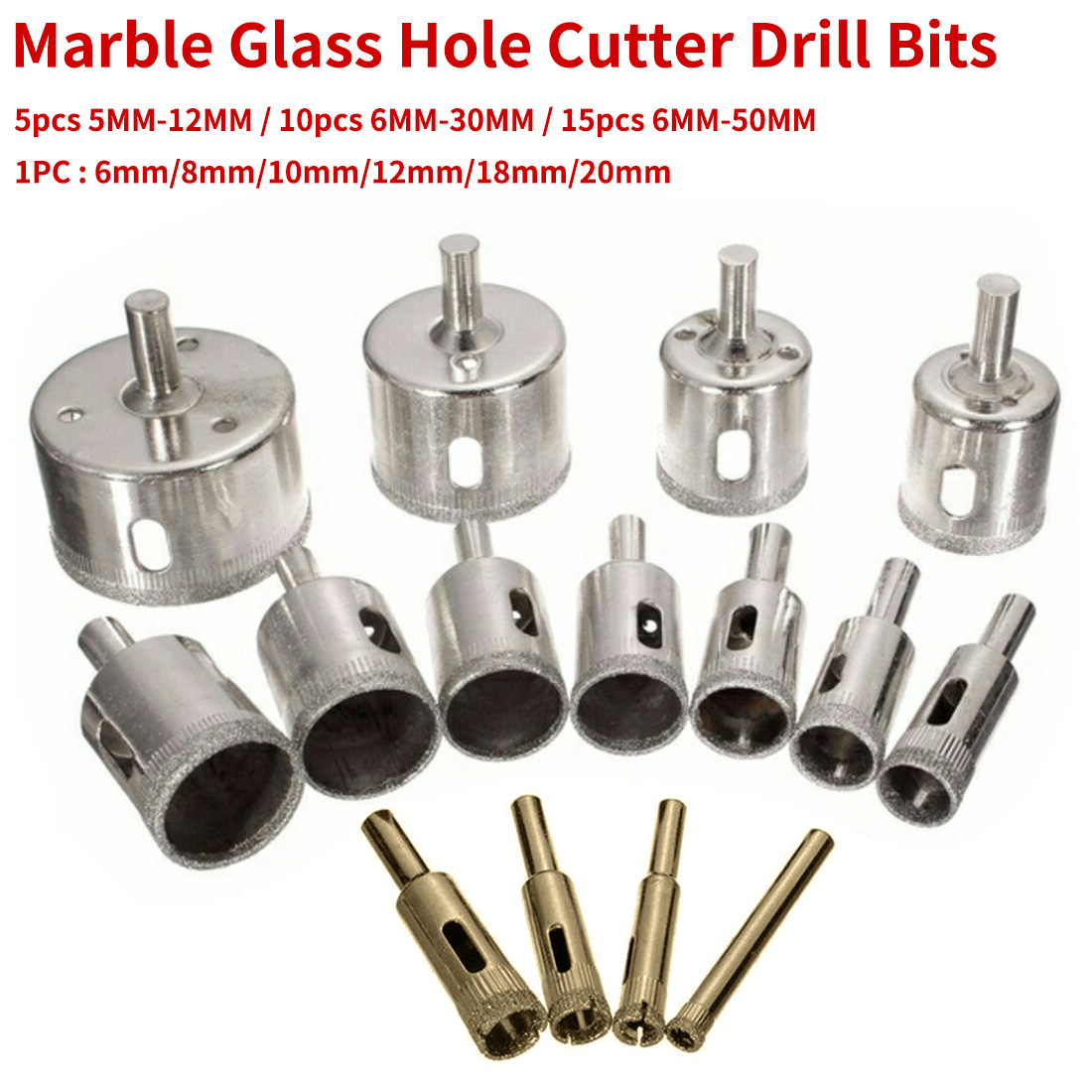 5mm-12mm/6mm-30mm/50mm Marble Glass Diamond Core Drill Bit Ceramic Tile Bead Knife Glass Dilator Glass Drill Bits 5pc/10pc/15pc