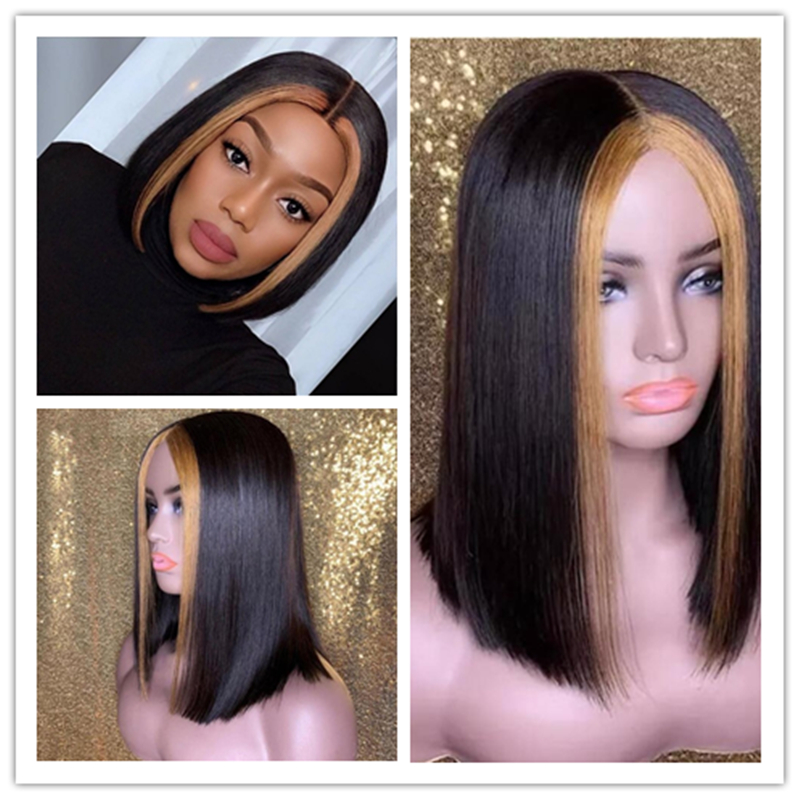 Ombre Colored Straight Bob 13x6 Deep Part Brazilian Lace Front Human Hair Wig Medium Brown Lace 150 Density PrePlucked For Women