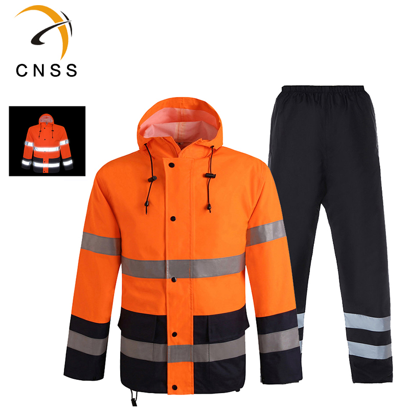 Men's Wear Clothes Men Reflective Raincoat Set Coat Pants Orange Outdoor Waterproof Work Clothes Reflective Jacket Pants