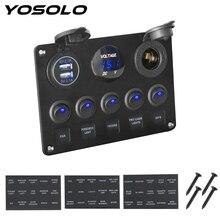 Voltímetro Digital YOSOLO doble puerto USB 12V salida combinación impermeable coche barco LED basculante interruptor Panel