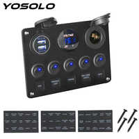 YOSOLO Digital Voltmeter Dual USB Port 12V Outlet Combination Waterproof Car Marine Boat LED Rocker Switch Panel