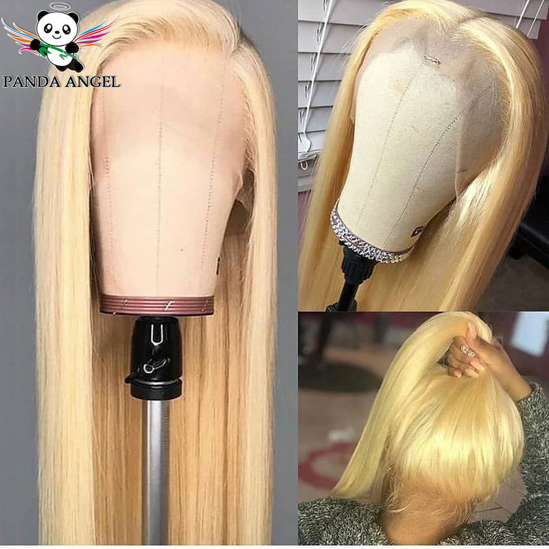 Panda 13*4 Blonde Brazilian Straight Lace Front Human Hair Wigs 150% Density 613 Blonde Lace Front Wigs For Black Women Remy