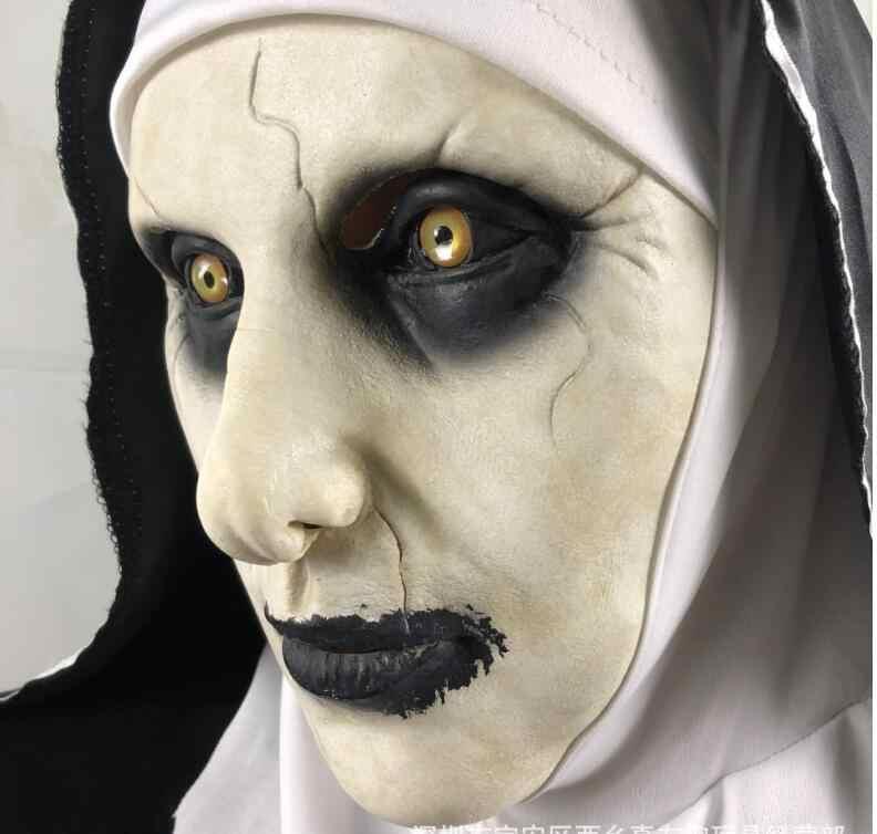 La religieuse masque d'horreur fête d'halloween la conjuration Valak effrayant Latex masques avec foulard