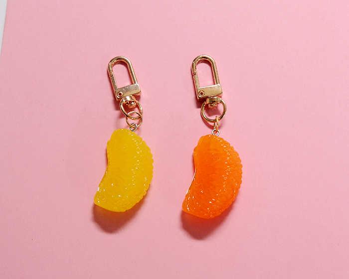 Linda simulación fruta naranja llavero chica llavero para mujer chica joyería dibujos animados coche bolso llavero Decoración