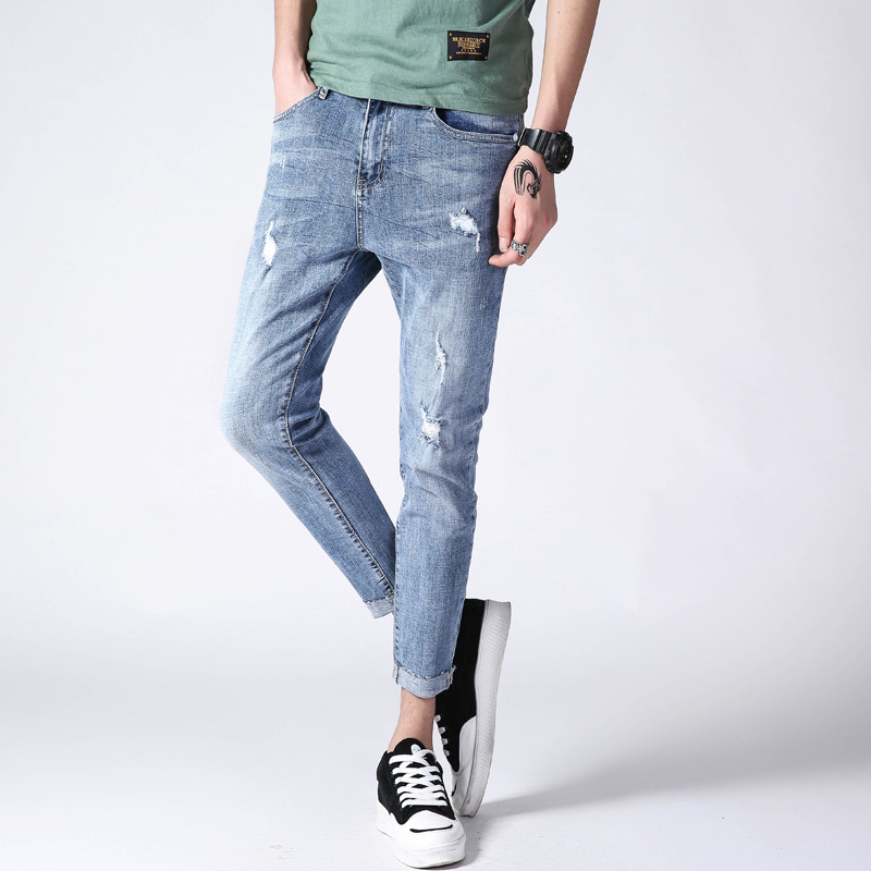 2019 Summer With Holes Jeans Men's Popular Brand Slim Fit Skinny Pants Korean-style Men Light Color Capri Pants Versatile Pants