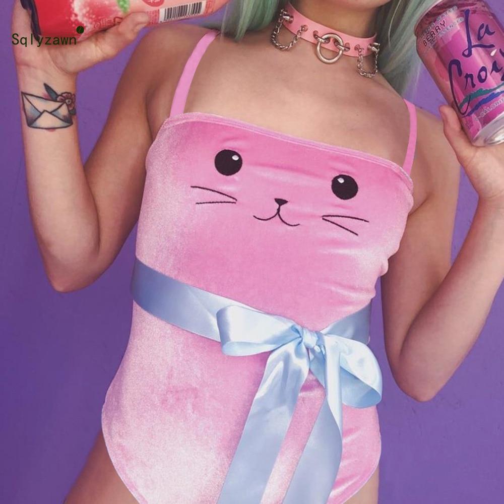 Kawaii Pink Velvet Sleeveless Cartoon Cat Embroidery Bodysuit Women Blue Bow Skinny Romper Girls Sweet Velour Bodycon   Jumpsuit