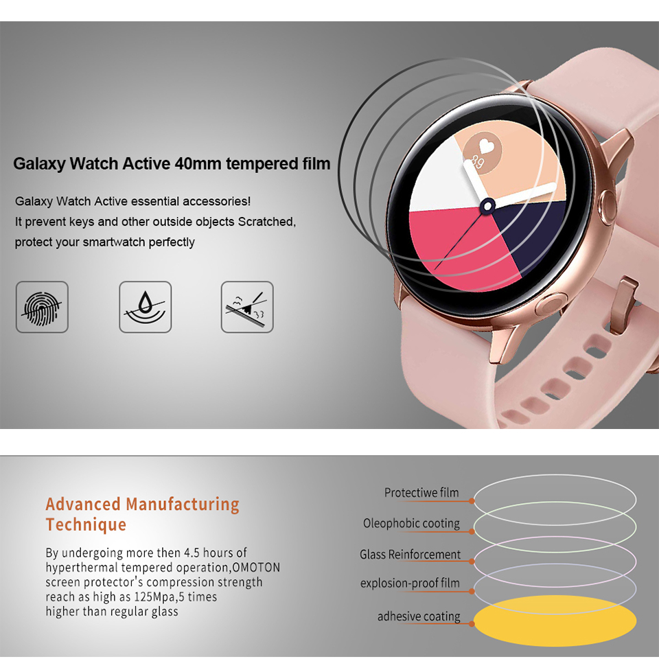 Image 3 - 3 Pieces Soft Hydrogel Film for Samsung Galaxy Watch Active 1 2 40m 44mm Protective Film Watch Screen Protector on Active 2 1-in Smart Accessories from Consumer Electronics