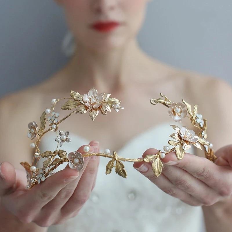 Gold Leaf Headpiece Floral Hair Piece Bridal Gold Tiara Wedding Headpiece Gold Hair Band
