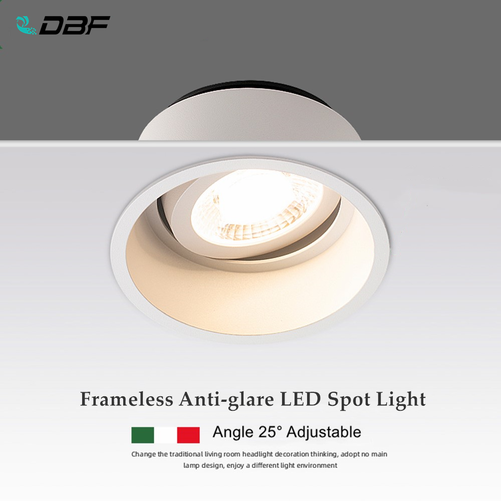 [DBF]Angle Adjustable Deep Anti-Glare LED COB Recessed Downlight 5W 7W 12W 15W Round White LED Ceiling Spot Light Pic Background