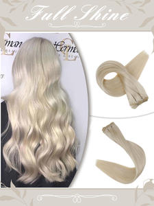 Hair-Weft Bundles Straight-Hair Machine-Made Full-Shine Sew 100g Ribbon Weave Remy Solid-Color