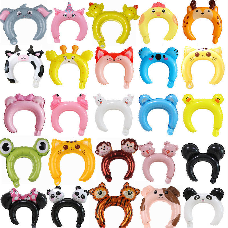 21PCS Cute Cartoon Animal Headband Foil Balloon Happy Birthday Wedding Party Baby Shower Decoration Kids Toys Child Decor