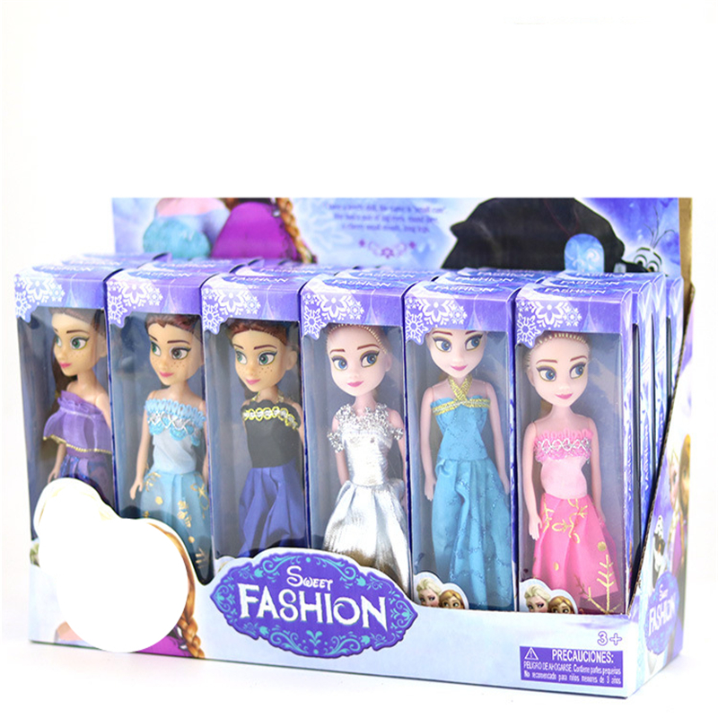 6 Styles High Quality 16cm Icy Doll Elsa Anna Boneca With Beautiful Clothes Snow Queen Toys For Girls Gift