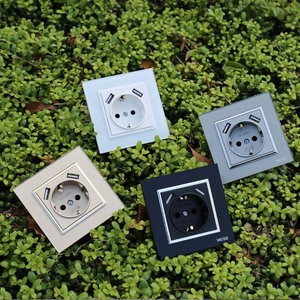 Image 5 - USB Steckdose Kostenloser versand Glas Hot Europäischen standard wand adapter 5v 2A stecker ausgang grau color16A 250V FBW 19