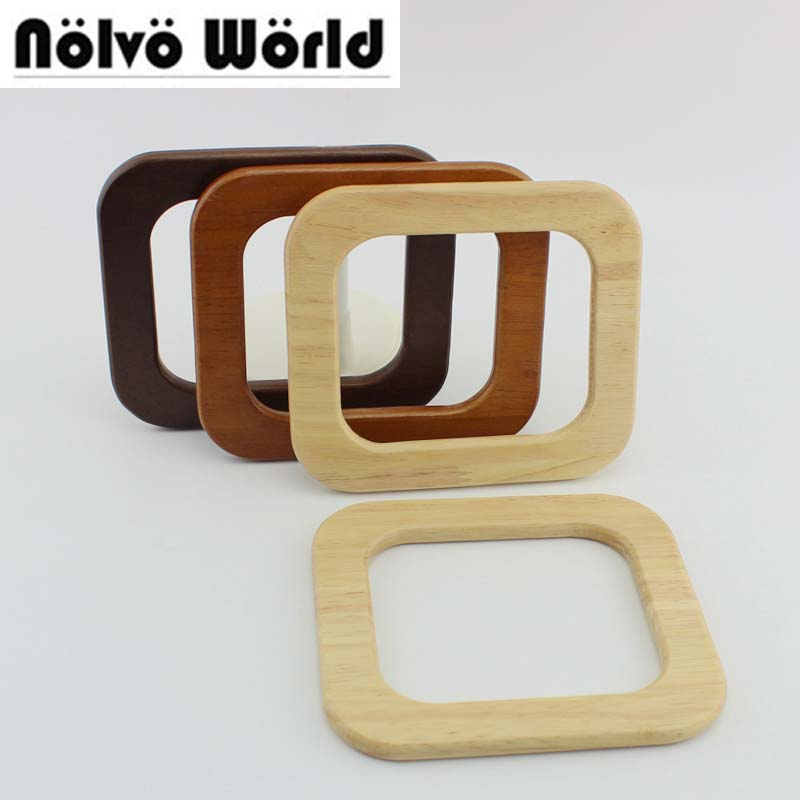 2 Pairs=4 Pieces,3 Colors 15*13cm Solid Wood Square Shaped Handles For Bags,Wooden Purse Hand Bag Handles