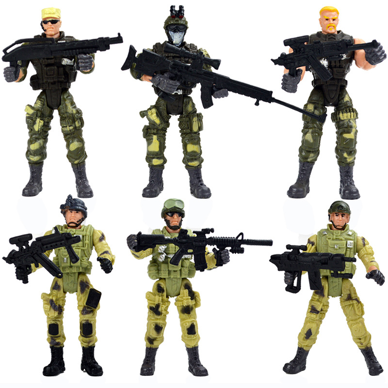 6pcs/set Special Forces Soldier Suit Model 3.75 Inch Joints Can Move Even Military War Soldiers and Soldiers Toys