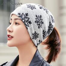 Scarf Cap Cashmere Women Headwear Skullies Beanies Ladies Polyester Girls Casual Snowflake