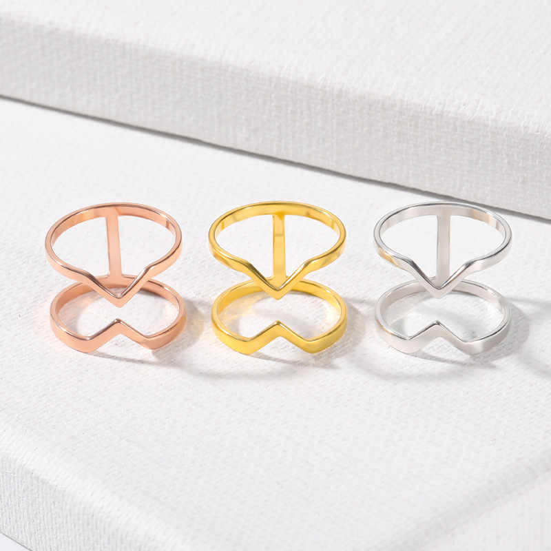 Double Layered Chevron Triangle Rings For Women Dainty Jewelry